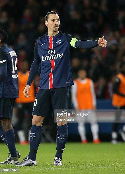Zlatan Ibrahimovic of PSG celebrates his goal during the French Ligue 1 match between Paris SaintGermain and SCO Angers at Parc des Princes stadium...