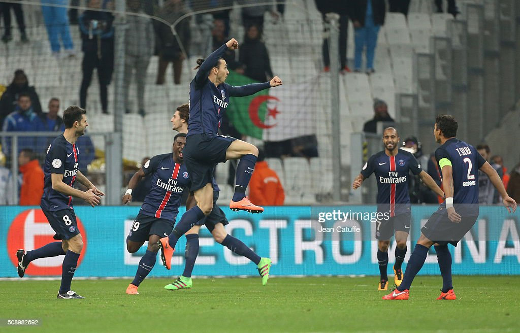 <a gi-track='captionPersonalityLinkClicked' href=/galleries/search?phrase=Zlatan+Ibrahimovic&family=editorial&specificpeople=206139 ng-click='$event.stopPropagation()'>Zlatan Ibrahimovic</a> of PSG celebrates his goal during the French Ligue 1 match between Olympique de Marseille (OM) and Paris Saint-Germain (PSG) at New Stade Velodrome on February 7, 2016 in Marseille, France.