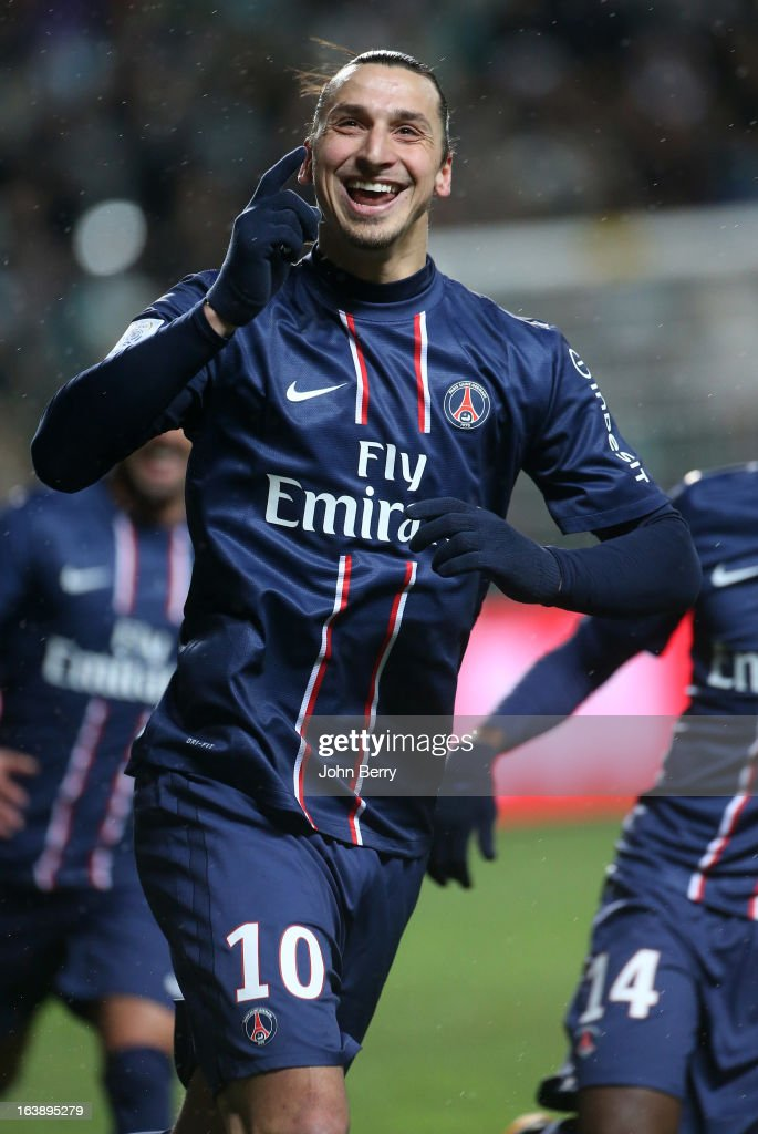 Zlatan Ibrahimovic of PSG celebrates his goal during the Ligue 1 match between AS Saint-Etienne ASSE and Paris Saint-Germain FC at the Stade Geoffroy-Guichard on March 17, 2013 in Saint-Etienne, France.