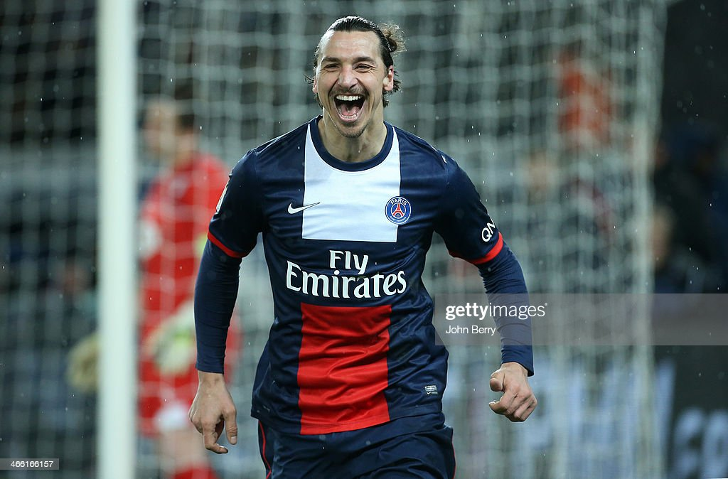 <a gi-track='captionPersonalityLinkClicked' href=/galleries/search?phrase=Zlatan+Ibrahimovic&family=editorial&specificpeople=206139 ng-click='$event.stopPropagation()'>Zlatan Ibrahimovic</a> of PSG celebrates his goal during the Ligue 1 match between Paris Saint-Germain FC and FC Girondins de Bordeaux at the Parc des Princes stadium on January 31, 2014 in Paris, France.