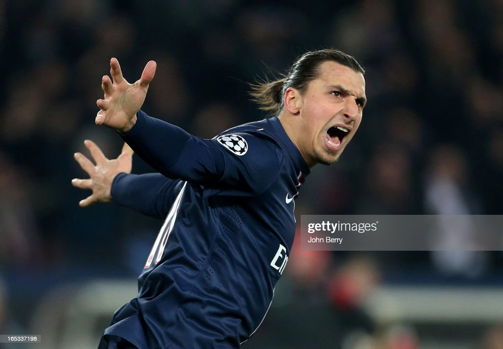 Zlatan Ibrahimovic of PSG celebrates his goal during the UEFA Champions League Quarter Final match between Paris Saint-Germain FC and FC Barcelona at the Parc des Princes stadium on April 2, 2013 in Paris France.