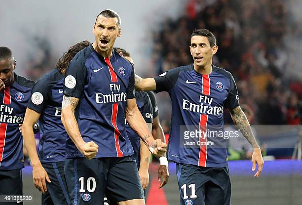 Zlatan Ibrahimovic of PSG celebrates his goal with Angel Di Maria of PSG during the French Ligue 1 match between Paris SaintGermain FC and Olympique...