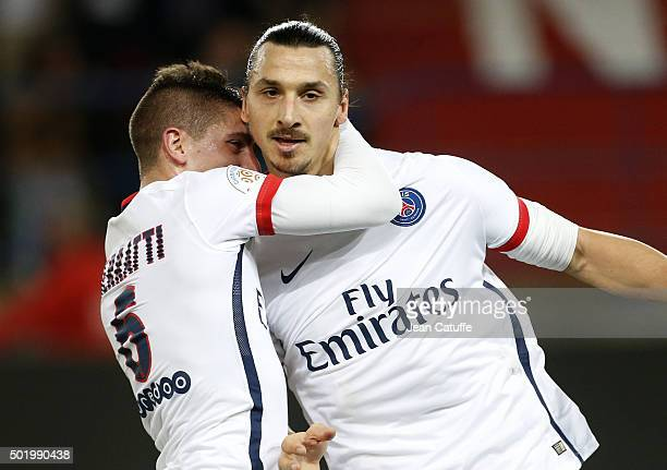 Zlatan Ibrahimovic of PSG celebrates his goal with Marco Verratti during the French Ligue 1 match between Stade Malherbe de Caen and Paris...