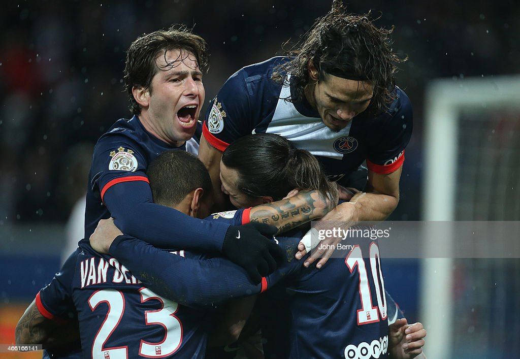 <a gi-track='captionPersonalityLinkClicked' href=/galleries/search?phrase=Zlatan+Ibrahimovic&family=editorial&specificpeople=206139 ng-click='$event.stopPropagation()'>Zlatan Ibrahimovic</a> of PSG celebrates his goal with Maxwell Scherrer and <a gi-track='captionPersonalityLinkClicked' href=/galleries/search?phrase=Edinson+Cavani&family=editorial&specificpeople=4104253 ng-click='$event.stopPropagation()'>Edinson Cavani</a> during the Ligue 1 match between Paris Saint-Germain FC and FC Girondins de Bordeaux at the Parc des Princes stadium on January 31, 2014 in Paris, France.