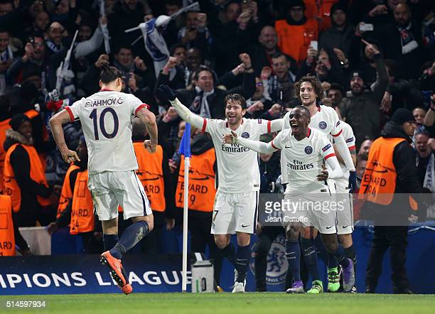 Zlatan Ibrahimovic of PSG celebrates his goal with Maxwell Scherrer Blaise Matuidi Adrien Rabiot during the UEFA Champions League round of 16 second...