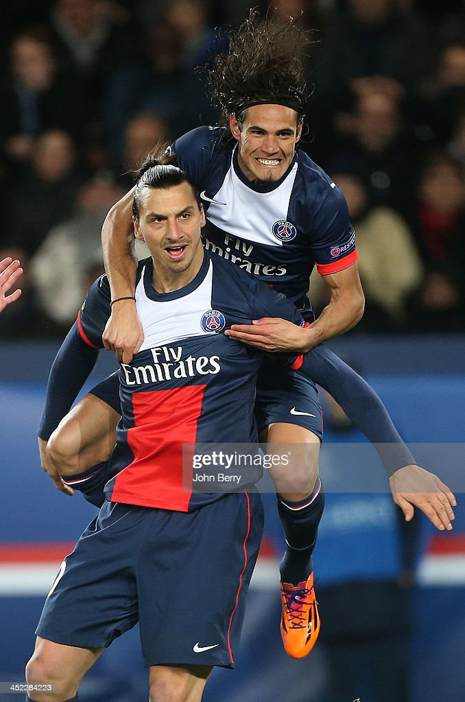 <a gi-track='captionPersonalityLinkClicked' href=/galleries/search?phrase=Zlatan+Ibrahimovic&family=editorial&specificpeople=206139 ng-click='$event.stopPropagation()'>Zlatan Ibrahimovic</a> of PSG celebrates his goal with teammate <a gi-track='captionPersonalityLinkClicked' href=/galleries/search?phrase=Edinson+Cavani&family=editorial&specificpeople=4104253 ng-click='$event.stopPropagation()'>Edinson Cavani</a> during the UEFA Champions League Group C match between Paris Saint-Germain FC and Olympiacos FC at the Parc des Princes stadium on November 27, 2013 in Paris, France.