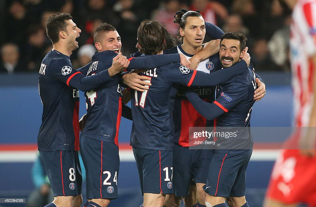 <a gi-track='captionPersonalityLinkClicked' href=/galleries/search?phrase=Zlatan+Ibrahimovic&family=editorial&specificpeople=206139 ng-click='$event.stopPropagation()'>Zlatan Ibrahimovic</a> of PSG celebrates his goal with teammates <a gi-track='captionPersonalityLinkClicked' href=/galleries/search?phrase=Thiago+Motta+-+Brazilian+Soccer+Player+-+Born+1982&family=editorial&specificpeople=631059 ng-click='$event.stopPropagation()'>Thiago Motta</a>, <a gi-track='captionPersonalityLinkClicked' href=/galleries/search?phrase=Marco+Verratti&family=editorial&specificpeople=7256509 ng-click='$event.stopPropagation()'>Marco Verratti</a>, Maxwell Scherrer, <a gi-track='captionPersonalityLinkClicked' href=/galleries/search?phrase=Ezequiel+Lavezzi&family=editorial&specificpeople=5451126 ng-click='$event.stopPropagation()'>Ezequiel Lavezzi</a> during the UEFA Champions League Group C match between Paris Saint-Germain FC and Olympiacos FC at the Parc des Princes stadium on November 27, 2013 in Paris, France.