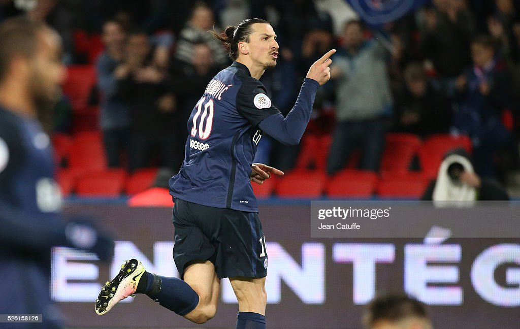 <a gi-track='captionPersonalityLinkClicked' href=/galleries/search?phrase=Zlatan+Ibrahimovic&family=editorial&specificpeople=206139 ng-click='$event.stopPropagation()'>Zlatan Ibrahimovic</a> of PSG celebrates his second goal during the French Ligue 1 match between Paris Saint-Germain (PSG) and Stade Rennais FC at Parc des Princes stadium on April 29, 2016 in Paris, France.