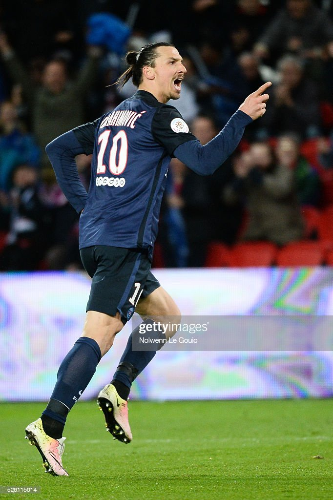 Zlatan Ibrahimovic of PSG celebrates his seconf goal during the French Ligue 1 match between Paris Saint Germain PSG and Stade Rennais at Parc des Princes on April 29, 2016 in Paris, France.