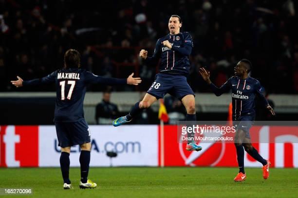 Zlatan Ibrahimovic of PSG celebrates scoring his teams first goal during the UEFA Champions League Quarter Final match between Paris SaintGermain and...