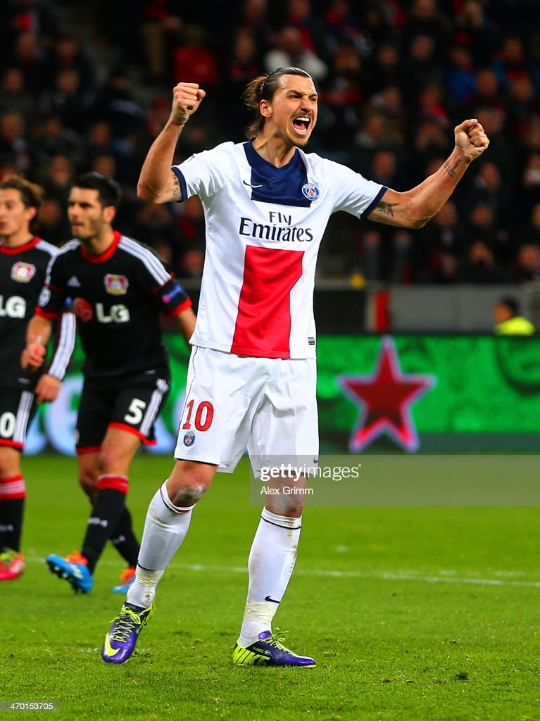 Zlatan Ibrahimovic of PSG celebrates scoring their second goal during the UEFA Champions League Round of 16 first leg match between Bayer Leverkusen and Paris Saint-Germain FC at BayArena on February 18, 2014 in Leverkusen, Germany.