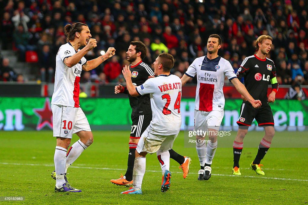 <a gi-track='captionPersonalityLinkClicked' href=/galleries/search?phrase=Zlatan+Ibrahimovic&family=editorial&specificpeople=206139 ng-click='$event.stopPropagation()'>Zlatan Ibrahimovic</a> of PSG celebrates scoring their second goal from the penalty spot with <a gi-track='captionPersonalityLinkClicked' href=/galleries/search?phrase=Marco+Verratti&family=editorial&specificpeople=7256509 ng-click='$event.stopPropagation()'>Marco Verratti</a> of PSG during the UEFA Champions League Round of 16 first leg match between Bayer Leverkusen and Paris Saint-Germain FC at BayArena on February 18, 2014 in Leverkusen, Germany.