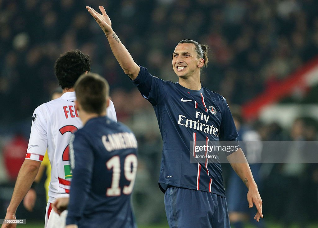 <a gi-track='captionPersonalityLinkClicked' href=/galleries/search?phrase=Zlatan+Ibrahimovic&family=editorial&specificpeople=206139 ng-click='$event.stopPropagation()'>Zlatan Ibrahimovic</a> of PSG contests vehemently the decision of the assistant referee and gets a yellow card from referee Nicolas Rainville during the French Ligue 1 match between Paris Saint Germain FC and AC Ajaccio at the Parc des Princes stadium on January 11, 2013 in Paris, France.