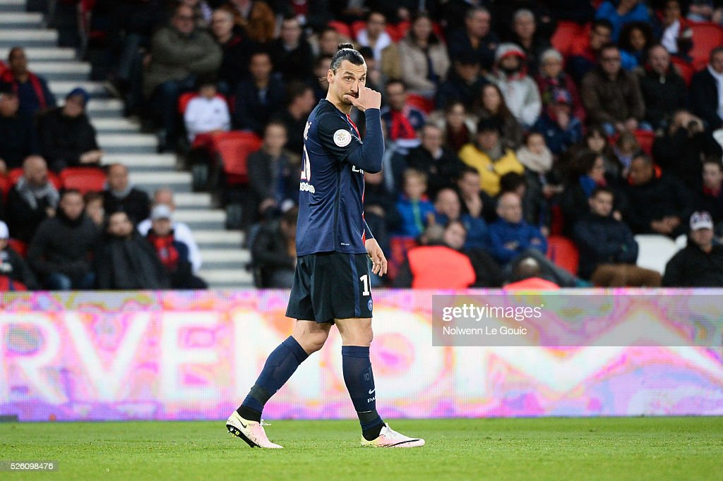 Zlatan IBRAHIMOVIC of PSG during the French Ligue 1 match between Paris Saint Germain PSG and Stade Rennais at Parc des Princes on April 29, 2016 in Paris, France.