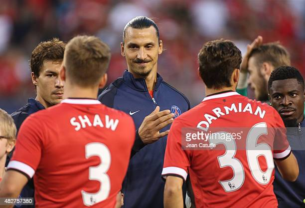 Zlatan Ibrahimovic of PSG greets Manchester United players before the International Champions Cup 2015 game between Manchester United and Paris...