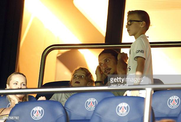 Zlatan Ibrahimovic of PSG his wife Helena Seger and their sons Maximilian Ibrahimovic and Vincent Ibrahimovic attend the French Ligue 1 match between...
