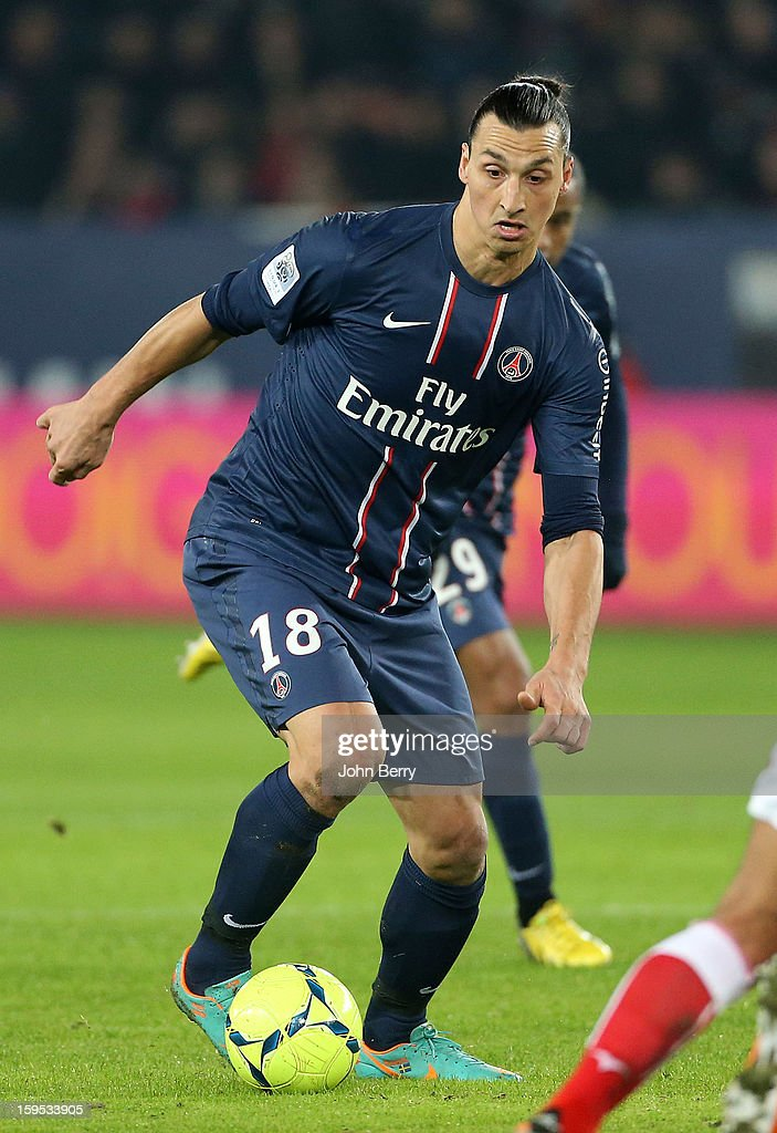 <a gi-track='captionPersonalityLinkClicked' href=/galleries/search?phrase=Zlatan+Ibrahimovic&family=editorial&specificpeople=206139 ng-click='$event.stopPropagation()'>Zlatan Ibrahimovic</a> of PSG in action during the French Ligue 1 match between Paris Saint Germain FC and AC Ajaccio at the Parc des Princes stadium on January 11, 2013 in Paris, France.