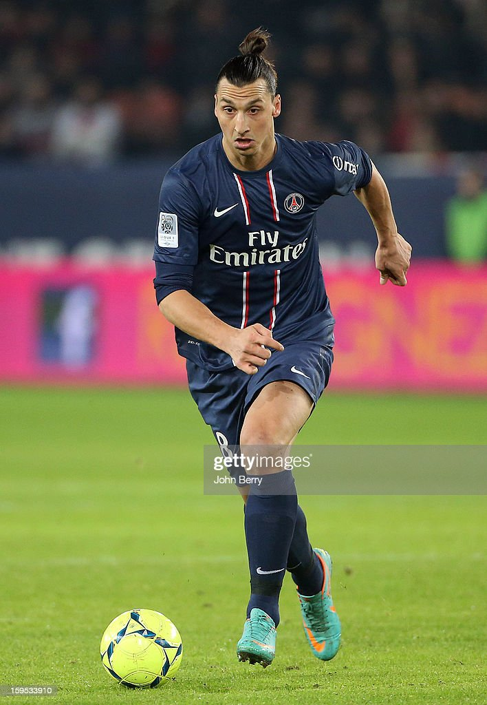 Zlatan Ibrahimovic of PSG in action during the French Ligue 1 match between Paris Saint Germain FC and AC Ajaccio at the Parc des Princes stadium on January 11, 2013 in Paris, France.