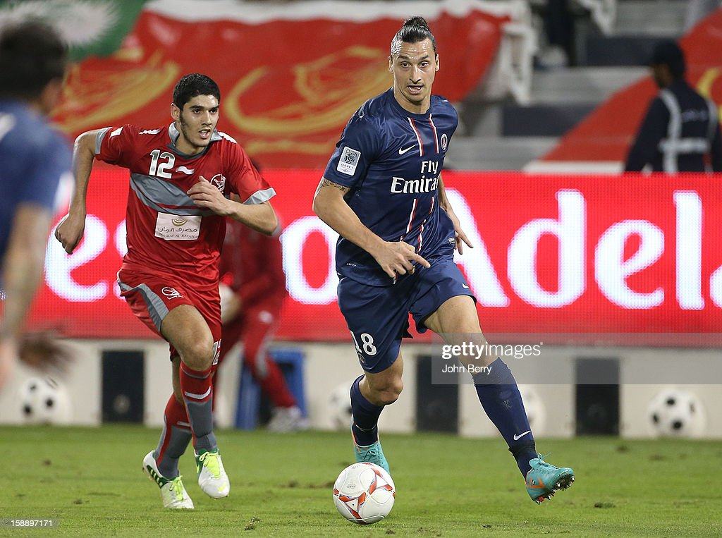 <a gi-track='captionPersonalityLinkClicked' href=/galleries/search?phrase=Zlatan+Ibrahimovic&family=editorial&specificpeople=206139 ng-click='$event.stopPropagation()'>Zlatan Ibrahimovic</a> of PSG in action during the friendly match between Paris Saint-Germain FC and Lekhwiya Sports Club at the Al-Sadd Sports Club stadium on January 2, 2013 in Doha, Qatar.