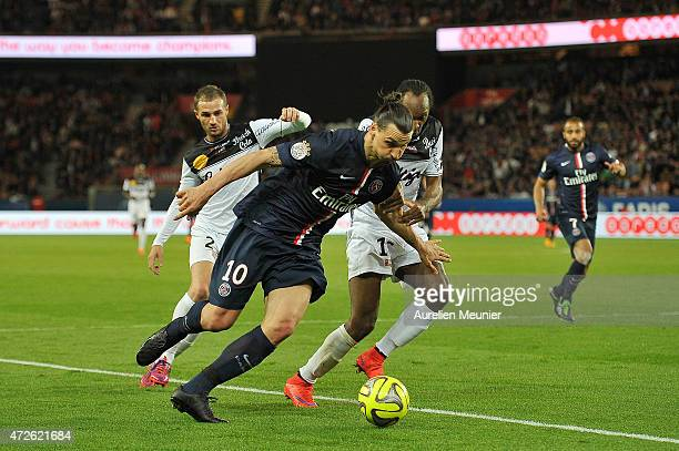 Zlatan Ibrahimovic of PSG in action during the Ligue 1 game between Paris Saint Germain and EA Guingamp at Parc des Princes on May 8 2015 in Paris...
