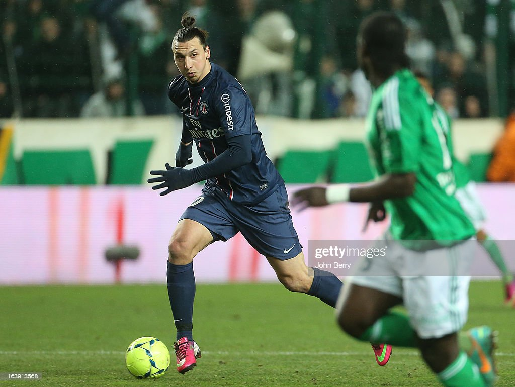 Zlatan Ibrahimovic of PSG in action during the Ligue 1 match between AS Saint-Etienne ASSE and Paris Saint-Germain FC at the Stade Geoffroy-Guichard on March 17, 2013 in Saint-Etienne, France.