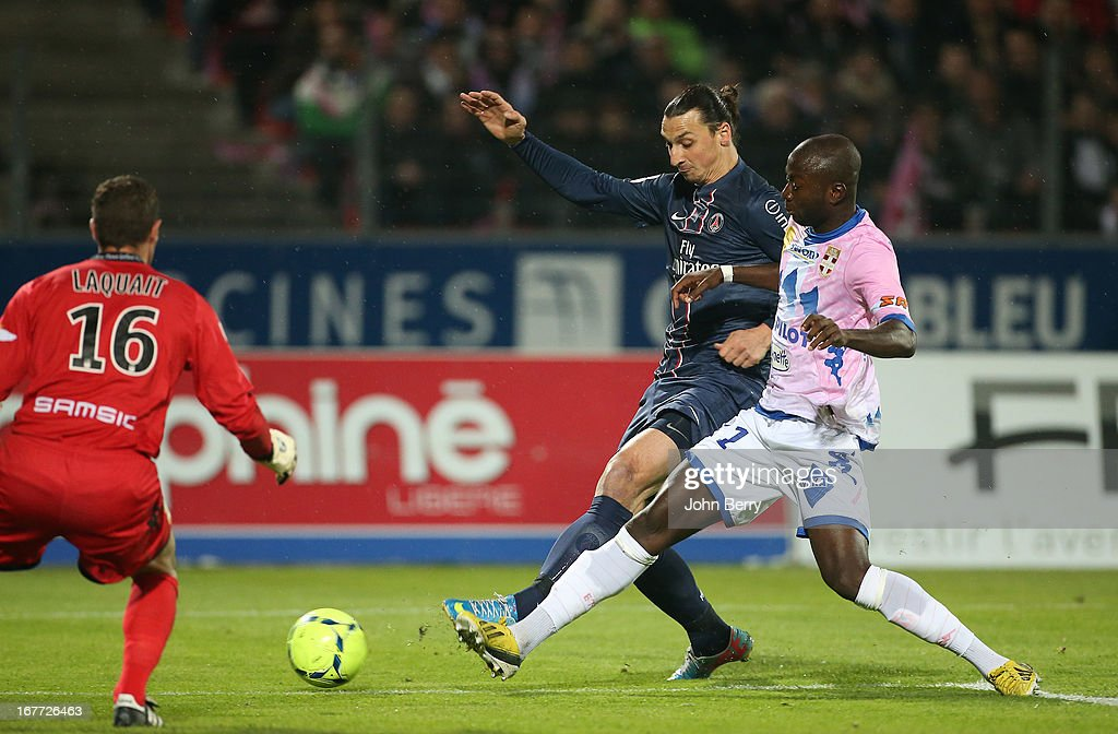 <a gi-track='captionPersonalityLinkClicked' href=/galleries/search?phrase=Zlatan+Ibrahimovic&family=editorial&specificpeople=206139 ng-click='$event.stopPropagation()'>Zlatan Ibrahimovic</a> of PSG in action during the Ligue 1 match between Evian Thonon Gaillard FC, ETG, and Paris Saint Germain FC, PSG, at the Parc des Sports d'Annecy on April 28, 2013 in Annecy, France.