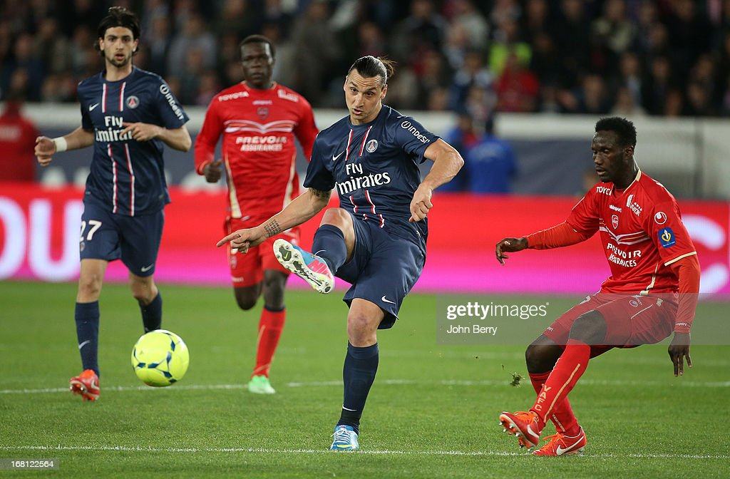<a gi-track='captionPersonalityLinkClicked' href=/galleries/search?phrase=Zlatan+Ibrahimovic&family=editorial&specificpeople=206139 ng-click='$event.stopPropagation()'>Zlatan Ibrahimovic</a> of PSG in action during the Ligue 1 match between Paris Saint-Germain FC and Valenciennes FC at the Parc des Princes stadium on May 5, 2013 in Paris, France.