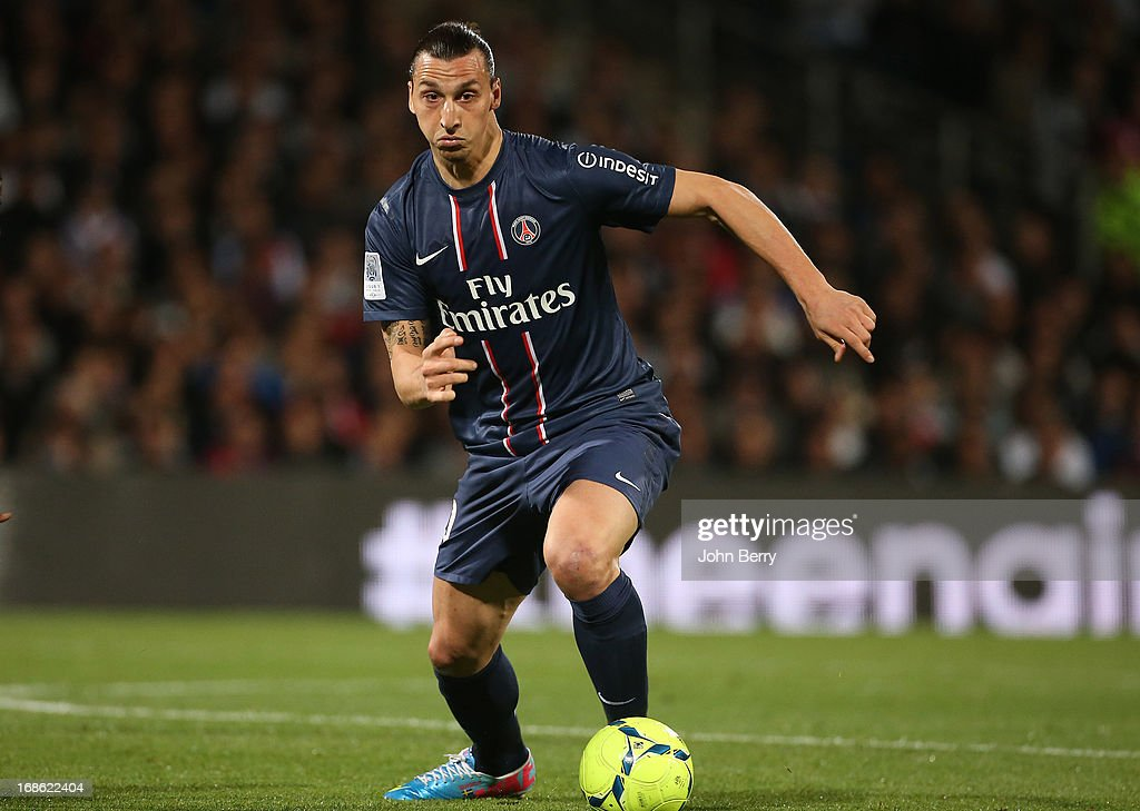 Zlatan Ibrahimovic of PSG in action during the Ligue 1 match between Olympique Lyonnais, OL, and Paris Saint-Germain FC, PSG, at the Stade Gerland on May 12, 2013 in Lyon, France.
