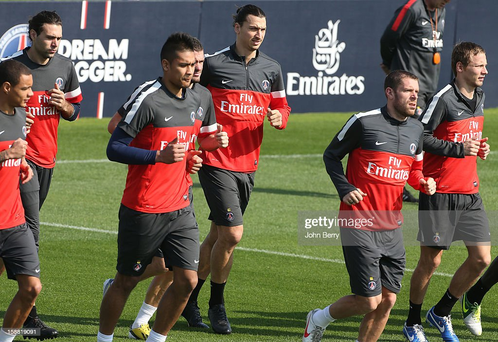 <a gi-track='captionPersonalityLinkClicked' href=/galleries/search?phrase=Zlatan+Ibrahimovic&family=editorial&specificpeople=206139 ng-click='$event.stopPropagation()'>Zlatan Ibrahimovic</a> of PSG in action during the Paris Saint Germain training session held at the Aspire Academy for Sports Excellence on December 30, 2012 in Doha, Qatar.