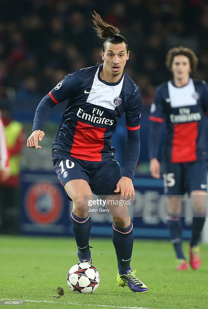 <a gi-track='captionPersonalityLinkClicked' href=/galleries/search?phrase=Zlatan+Ibrahimovic&family=editorial&specificpeople=206139 ng-click='$event.stopPropagation()'>Zlatan Ibrahimovic</a> of PSG in action during the UEFA Champions League Group C match between Paris Saint-Germain FC and Olympiacos FC at the Parc des Princes stadium on November 27, 2013 in Paris, France.