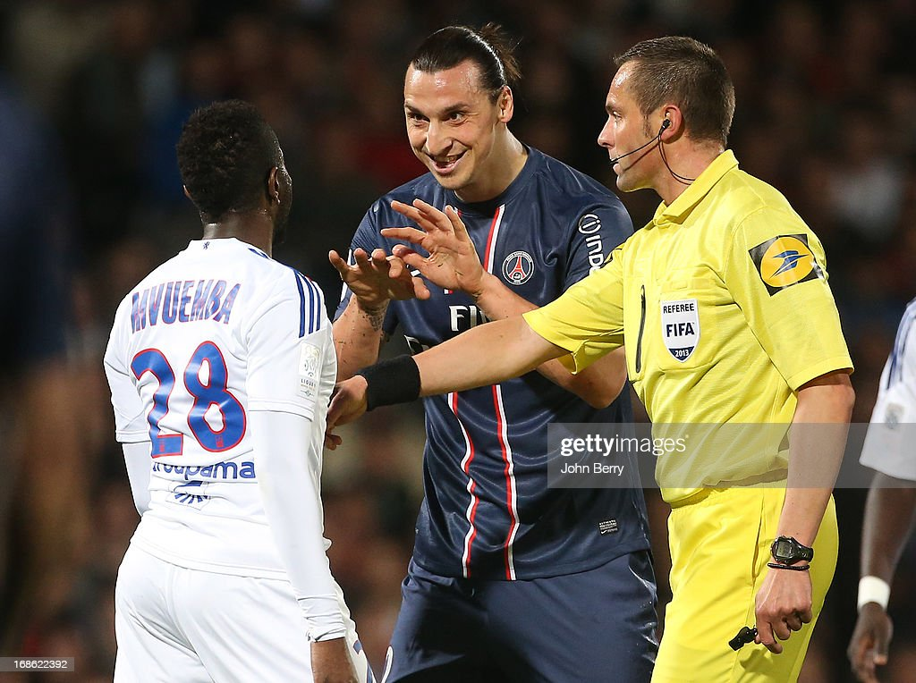 Zlatan Ibrahimovic of PSG is teasing Makengo Mvuemba of Lyon during the Ligue 1 match between Olympique Lyonnais, OL, and Paris Saint-Germain FC, PSG, at the Stade Gerland on May 12, 2013 in Lyon, France.