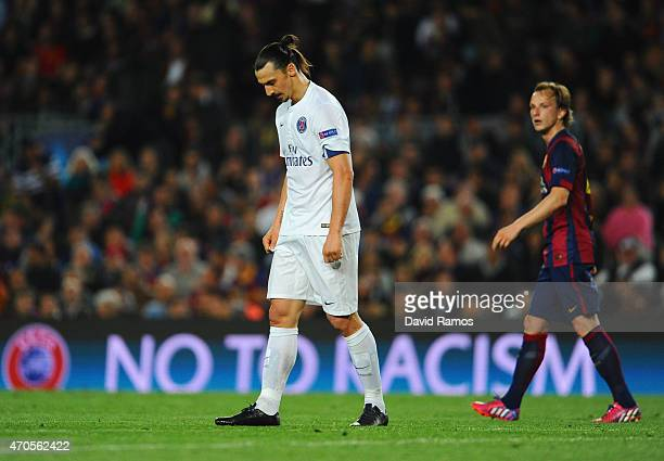Zlatan Ibrahimovic of PSG looks dejected during the UEFA Champions League Quarter Final second leg match between FC Barcelona and Paris SaintGermain...