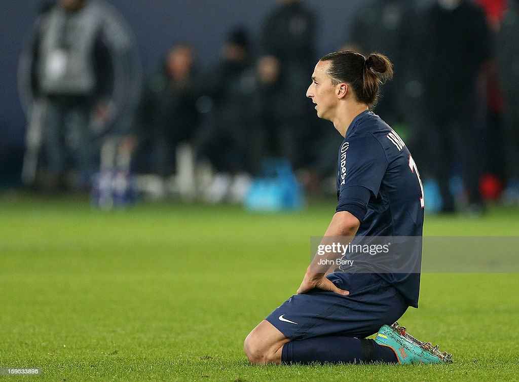 Zlatan Ibrahimovic of PSG looks on during the French Ligue 1 match between Paris Saint Germain FC and AC Ajaccio at the Parc des Princes stadium on January 11, 2013 in Paris, France.