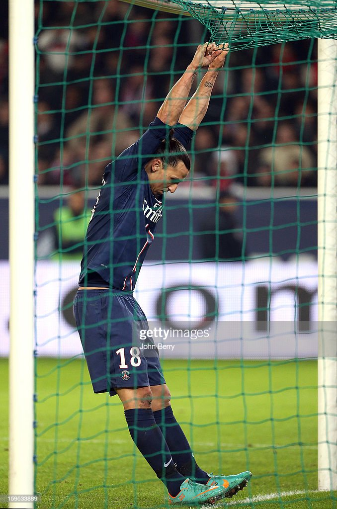 Zlatan Ibrahimovic of PSG reacts after missing a goal during the French Ligue 1 match between Paris Saint Germain FC and AC Ajaccio at the Parc des Princes stadium on January 11, 2013 in Paris, France.