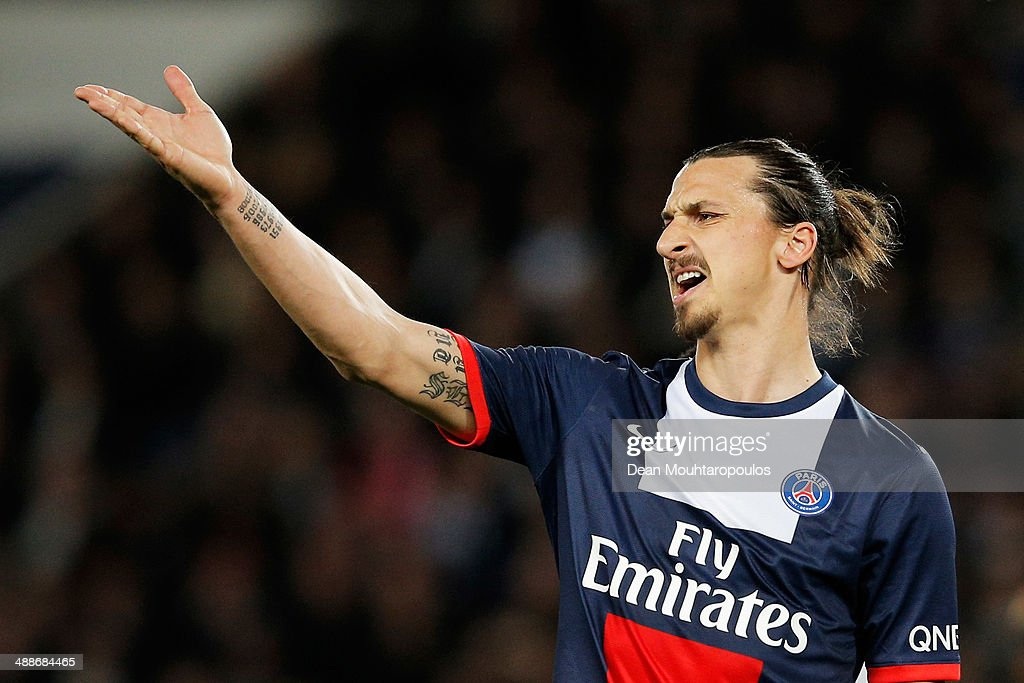 <a gi-track='captionPersonalityLinkClicked' href=/galleries/search?phrase=Zlatan+Ibrahimovic&family=editorial&specificpeople=206139 ng-click='$event.stopPropagation()'>Zlatan Ibrahimovic</a> of PSG reacts to a missed chance on goal during the Ligue 1 match between Paris Saint-Germain FC and Stade Rennais FC at Parc des Princes on May 7, 2014 in Paris, France.