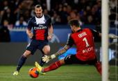 Zlatan Ibrahimovic of PSG sees his shot saved by goalkeeper Benoit Costil of Rennais during the Ligue 1 match between Paris SaintGermain FC and Stade...