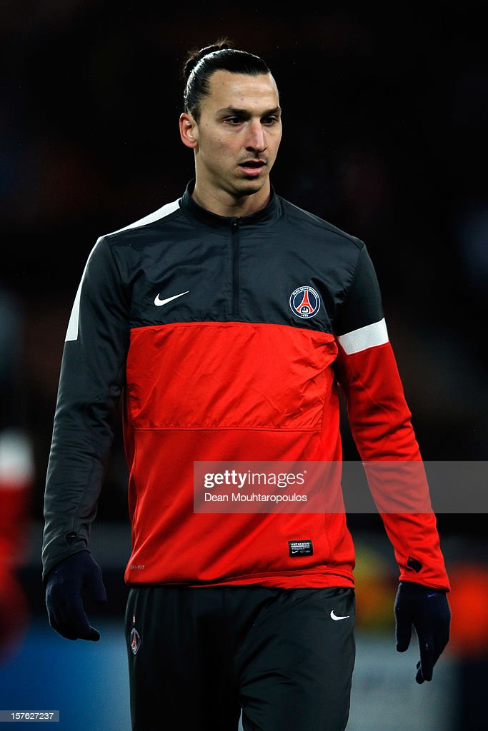 <a gi-track='captionPersonalityLinkClicked' href=/galleries/search?phrase=Zlatan+Ibrahimovic&family=editorial&specificpeople=206139 ng-click='$event.stopPropagation()'>Zlatan Ibrahimovic</a> of PSG warms up prior to the Group A UEFA Champions League match between Paris Saint-Germain FC and FC Porto at Parc des Princes on December 4, 2012 in Paris, France.
