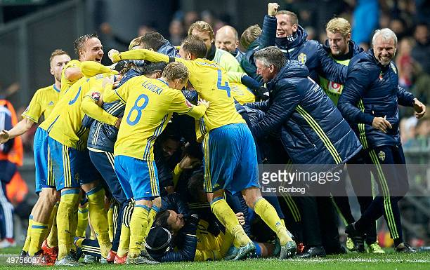 Zlatan Ibrahimovic of Sweden and his team mates celebrate after scoring their second goal during the UEFA EURO 2016 Qualifier PlayOff Second Leg...