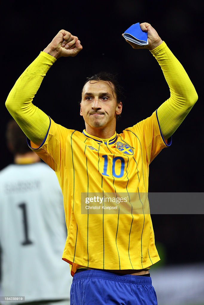 <a gi-track='captionPersonalityLinkClicked' href=/galleries/search?phrase=Zlatan+Ibrahimovic&family=editorial&specificpeople=206139 ng-click='$event.stopPropagation()'>Zlatan Ibrahimovic</a> of Sweden celebrate the 4-4 draw after the FIFA 2014 World Cup qualifier group C match between German and Sweden at Olympiastadion on October 16, 2012 in Berlin, Germany.