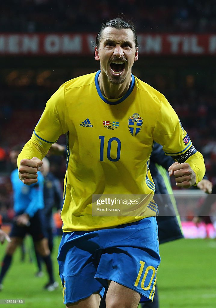 Zlatan Ibrahimovic of Sweden celebrates after the UEFA EURO 2016 Qualifier PlayOff Second Leg match between Denmark and Sweden at Parken Stadium on...