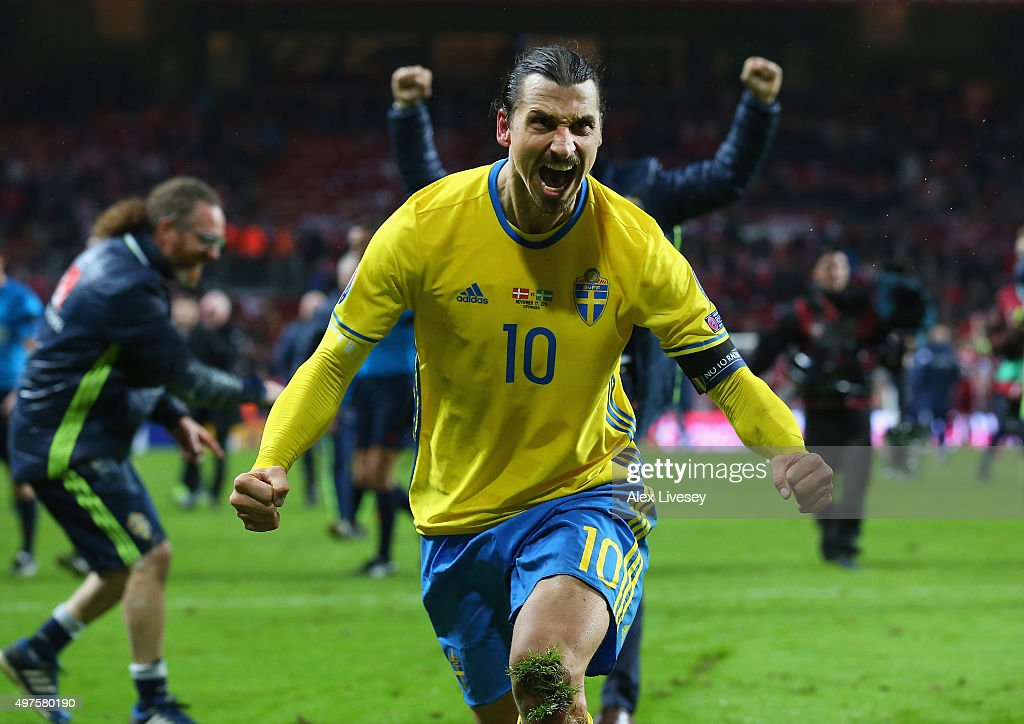 <a gi-track='captionPersonalityLinkClicked' href=/galleries/search?phrase=Zlatan+Ibrahimovic&family=editorial&specificpeople=206139 ng-click='$event.stopPropagation()'>Zlatan Ibrahimovic</a> of Sweden celebrates after the UEFA EURO 2016 Qualifier Play-Off Second Leg match between Denmark and Sweden at Parken Stadium on November 17, 2015 in Copenhagen, Denmark.