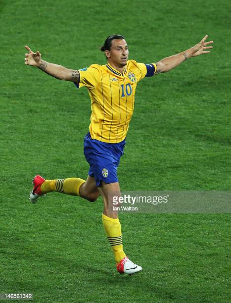 Zlatan Ibrahimovic of Sweden celebrates his goal during the UEFA EURO 2012 group D match between Sweden and France at The Olympic Stadium on June 19...
