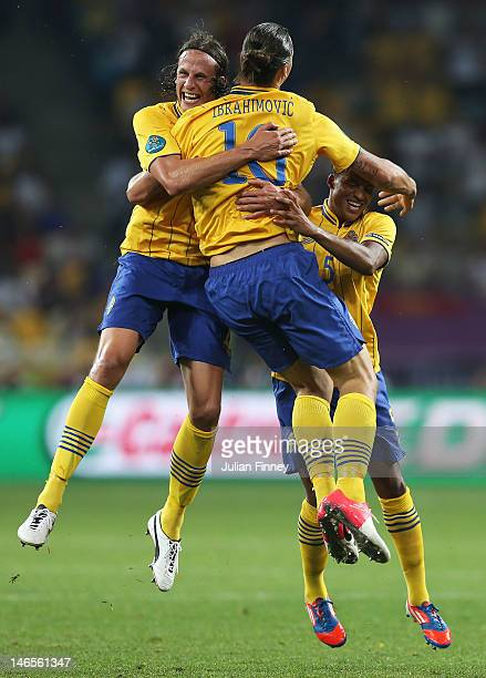 Zlatan Ibrahimovic of Sweden celebrates his goal with Jonas Olsson and Martin Olsson during the UEFA EURO 2012 group D match between Sweden and...