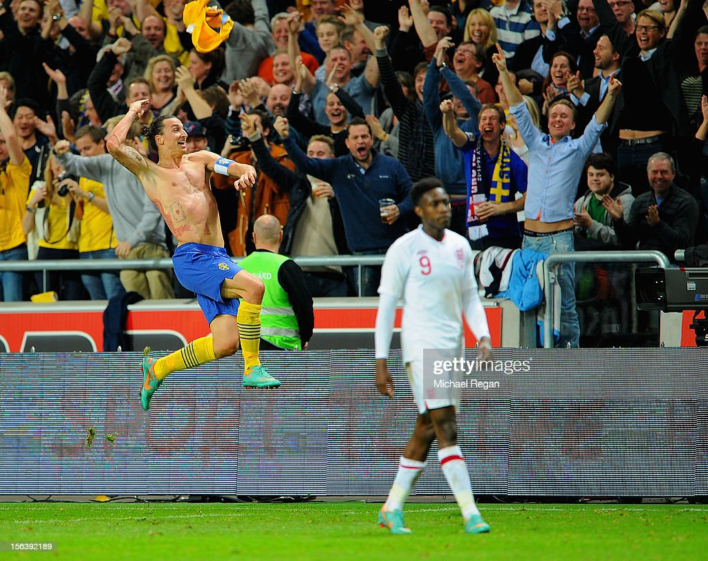 Zlatan Ibrahimovic of Sweden celebrates scoring his 4th goal during the international friendly match between Sweden and England at the Friends Arena on November 14, 2012 in Stockholm, Sweden.
