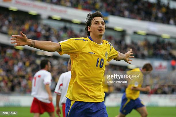 Zlatan Ibrahimovic of Sweden celebrates scoring his goal during The World Cup 2006 Qualification match between Sweden and Malta at The Ullevi Stadium...