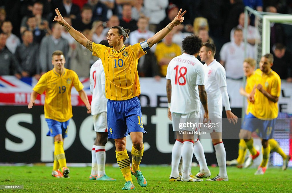 Zlatan Ibrahimovic of Sweden celebrates scoring his third goal during the international friendly match between Sweden and England at the Friends Arena on November 14, 2012 in Stockholm, Sweden.