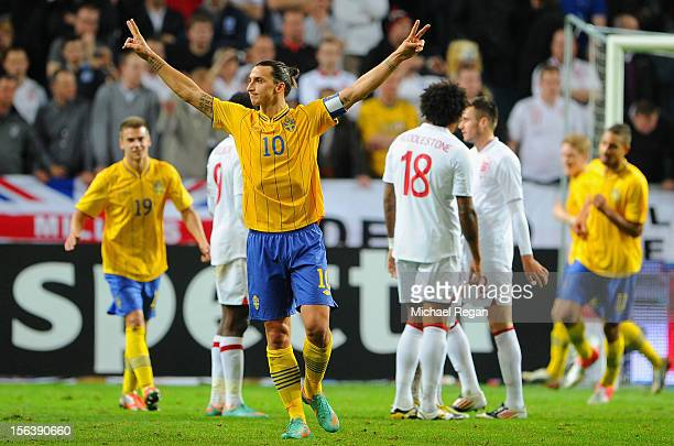Zlatan Ibrahimovic of Sweden celebrates scoring his third goal during the international friendly match between Sweden and England at the Friends...