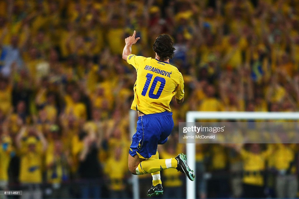 <a gi-track='captionPersonalityLinkClicked' href=/galleries/search?phrase=Zlatan+Ibrahimovic&family=editorial&specificpeople=206139 ng-click='$event.stopPropagation()'>Zlatan Ibrahimovic</a> of Sweden celebrates scoring the opening goal during the UEFA EURO 2008 Group D match between Greece and Sweden at Stadion Wals-Siezenheim on June 10, 2008 in Salzburg, Austria.