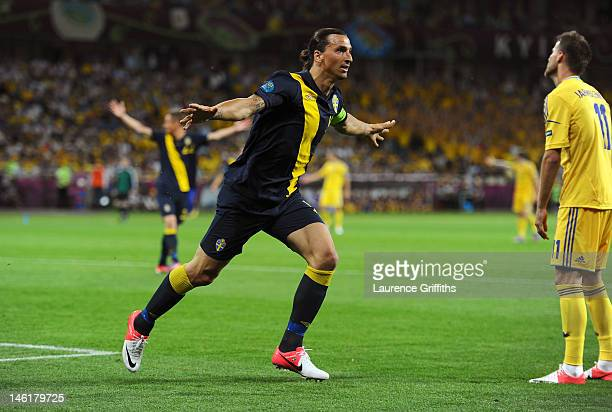 Zlatan Ibrahimovic of Sweden celebrates scoring their first goal during the UEFA EURO 2012 group D match between Ukraine and Sweden at The Olympic...