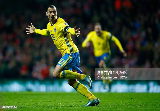 Zlatan Ibrahimovic of Sweden celebrates scoring their second goal during the UEFA EURO 2016 Qualifier PlayOff Second Leg match between Denmark and...